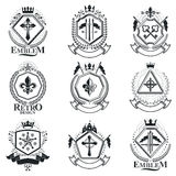 Vintage decorative emblems compositions, heraldic vectors. Class. Y high quality symbolic illustrations collection, vector set Royalty Free Stock Photos