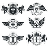 Vintage decorative emblems compositions, heraldic vectors. Class Royalty Free Stock Image