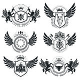Vintage decorative emblems compositions, heraldic vectors. Class Stock Photo