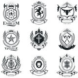 Vintage decorative emblems compositions, heraldic vectors. Class. Y high quality symbolic illustrations collection, vector set Stock Image