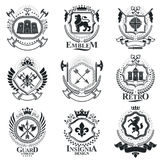 Vintage decorative emblems compositions, heraldic vectors. Class. Y high quality symbolic illustrations collection, vector set Stock Images
