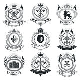 Vintage decorative emblems compositions, heraldic vectors. Class. Y high quality symbolic illustrations collection, vector set Royalty Free Stock Images