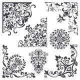 Vintage decorative floral corner design elements. Vector set. Elements for decorating invitations, cards, books, menus and other printed materials stock illustration