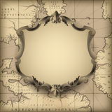 Vintage decorative frame against old geographic map background Stock Photography