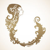 Vintage decorative frame with profile lady. Vector illustration. Abstract girl with ornamental hair Stock Photography