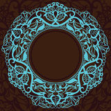 Vintage decorative frame in a square. Turquoise in Royalty Free Stock Images