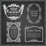 Vintage decorative frames set. Flourish border corner and frame collection. Decorative elements for design invitations, frames, menus Stock Photography