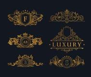 Vintage Decorative gold Elements Flourishes Calligraphic Ornament Stock Photography