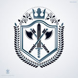 Vintage decorative heraldic vector emblem composed with armory a Royalty Free Stock Image