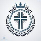 Vintage decorative heraldic vector emblem composed with Christia Stock Photo