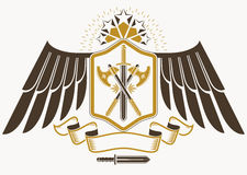 Vintage decorative heraldic vector emblem composed with eagle wi Royalty Free Stock Photography