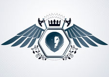 Vintage decorative heraldic vector emblem composed with eagle wi Royalty Free Stock Photos