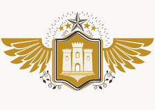 Vintage decorative heraldic vector emblem composed with eagle  Royalty Free Stock Photography