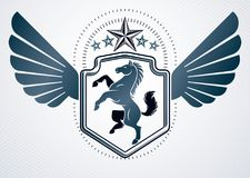 Vintage decorative heraldic vector emblem composed with horse il Royalty Free Stock Photos