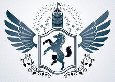 Vintage decorative heraldic vector emblem composed with horse  Stock Photo
