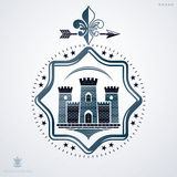 Vintage decorative heraldic vector emblem composed with medieval Stock Photos