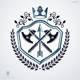 Vintage decorative heraldic vector emblem composed using armory Stock Photo