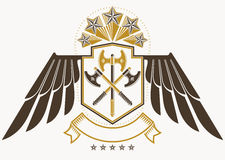 Vintage decorative heraldic vector emblem composed using eagle w Royalty Free Stock Photography