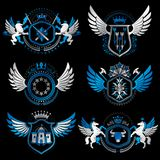 Vintage decorative heraldic vector emblems composed with element Royalty Free Stock Image