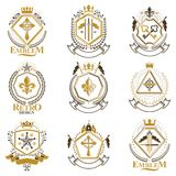 Vintage decorative heraldic vector emblems composed with element Stock Images