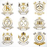 Vintage decorative heraldic vector emblems composed with element Stock Photos