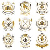 Vintage decorative heraldic vector emblems composed with element Stock Photography