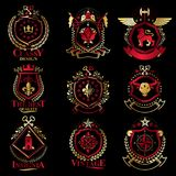 Vintage decorative heraldic vector emblems composed with element Royalty Free Stock Photos