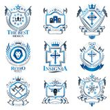 Vintage decorative heraldic vector emblems composed with element. S like eagle wings, religious crosses, armory and medieval castles, animals. Collection of Royalty Free Stock Photos