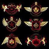 Vintage decorative heraldic vector emblems composed with element stock illustration