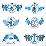 Vintage decorative heraldic vector emblems composed with element. S like eagle wings, religious crosses, armory and medieval castles, animals. Collection of Royalty Free Stock Photo