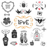 Vintage decorative love badges with lettering. Hand drawn vector Stock Photo