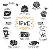 Vintage decorative love badges with lettering. Hand drawn vector
