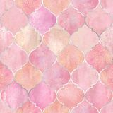 Vintage decorative moroccan seamless pattern. Vintage decorative moroccan seamless pattern with silver line. Watercolor hand drawn pink stained-glass window stock photos