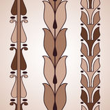 Vintage decorative set brown floral pattern seamless vertical bo. Rder  illustration isolated on white background Royalty Free Stock Photos