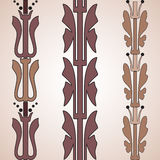 Vintage decorative set brown floral pattern seamless vertical bo. Rder  illustration isolated on white background Stock Photography