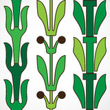 Vintage decorative set green floral pattern seamless vertical bo Stock Photo