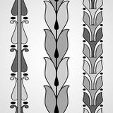 Vintage decorative set monochrome floral pattern seamless vertic Royalty Free Stock Photos