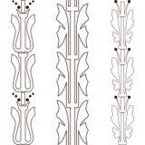 Vintage decorative set outline black floral pattern seamless ver Royalty Free Stock Images