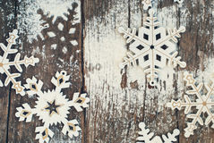 Vintage Decorative Snowflakes Decorated with Ising Royalty Free Stock Images