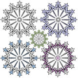 Vintage decorative snowflakes for design (vector) Royalty Free Stock Photos