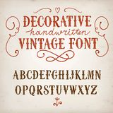 Vintage decorative vector font. Hand drawn decorative vintage vector ABC letters on old paper background.Nice font for your design stock illustration