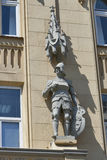 Vintage decorative wall with statue of knight in Lviv Stock Photography
