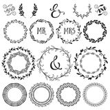 Vintage decorative wreaths and laurels with lettering. Hand drawn vector design wedding set Royalty Free Stock Image