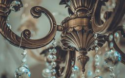 Vintage decorativo Crystal Ceiling Chandelier imagen de archivo