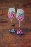 Vintage decoupage decorated wineglasses Royalty Free Stock Image