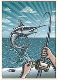 Vintage deep sea fishing poster Royalty Free Stock Images