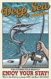 Vintage deep sea fishing poster Stock Photos