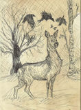 Vintage deer drawing. Ink drawing of a deer, trees and crows in vintage style Stock Photo