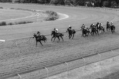 Vintage del blanco del negro de la pista de los jinetes de la carrera de caballos Imagen de archivo