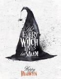 Vintage del cartel de Halloween del sombrero de la bruja Fotografía de archivo libre de regalías